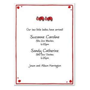 Ladybug Family Twins Baby Shower Invites Toys & Games