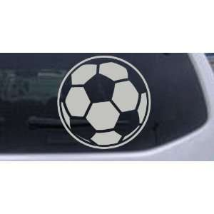 Soccer Ball Sports Car Window Wall Laptop Decal Sticker    Silver 14in