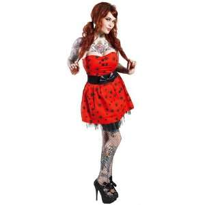 Punk Rock Black Spider Strapless Red Party Tulle Belted