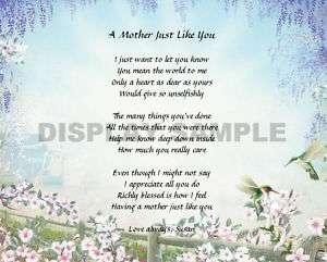 Personalized Poem for Mom Keepsake Christmas Gift Idea
