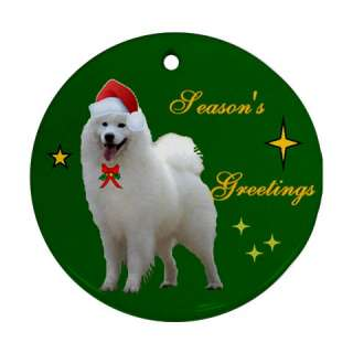 SAMOYED DOG CHRISTMAS XMAS TREE PORCELAIN ORNAMENT GIFT