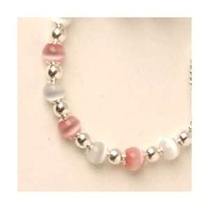 Pink/White Color Beaded Necklace   Size 9 13 years Baby