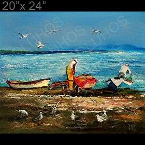ANGLERS Original MODERN Impasto Knife Oil Painting YARY DLUHOS