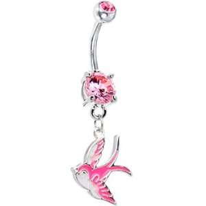 Pink Gem Sparrow Belly Ring Jewelry