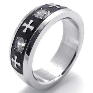 Mens Womens Black Silver Stainless Steel Cross Ring Size 10 #U20143
