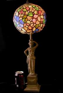 ART NOUVEAU LAMP STAINED GLASS TABLE LAMP WTH FIGURINE 24