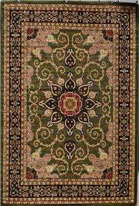 Burgundy Green Beige Black Brown Isfahan Area Rug Oriental Carpet