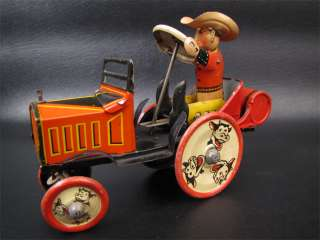 Vintage Marx Toys Wind Up Tin Litho Cowboy Whoopee Car