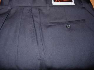 NEW MENS KIRKLAND SIGNATURE ITALIAN GABARDINE WOOL PLEATED PANT ROLLED