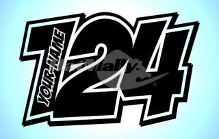 RACE NUMBERS NAME DECALS STICKERS TRACK GRAPHICS POW x3