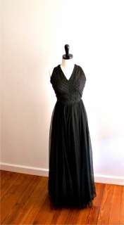 VTG 60s 70s Jack Bryan Black Formal Party Long Maxi Dress Beaded Black