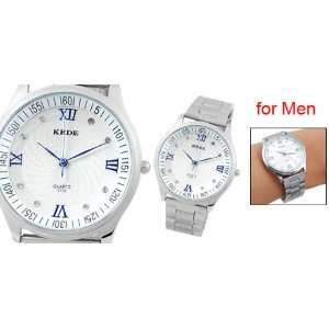 Silver Tone Band Round White Dial Rome Number Watch