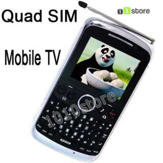 Unlocked Quad four SIM Touch Screen Qwerty JavaTV Phone