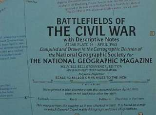 National Geographic Fold Out Map CIVIL WAR BATTLEFIELDS