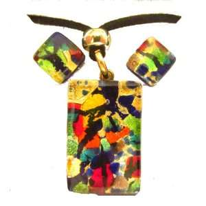 Multi Color Murano Glass Necklace and Earrings Jewelry Set Jewelry