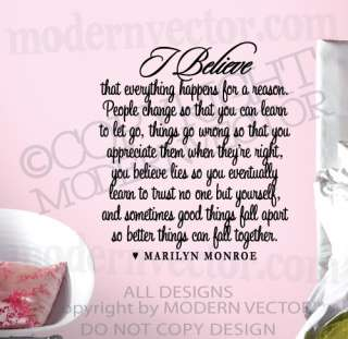 MARILYN MONROE Quote Vinyl Wall Decal I BELIEVE Vinyl Sticker Letters