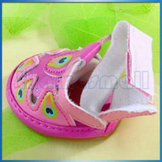 Pet Puppy Dog PU Leather Summer Sandal Shoes Boots Pink