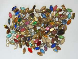 VINTAGE LOT JEWELRY FINDINGS GLASS RHINESTONE BEADS 12