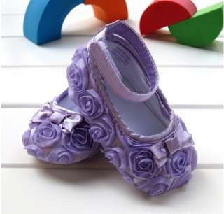 Purple Mary Jane Infant Baby Shoes Girl Toddler dress soft sole Rose