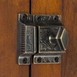Solid Brass Cabinet Latch with Diamond Knob   Antique
