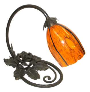 French Art Deco Wrought Iron Lamp Schneider Glass Shade