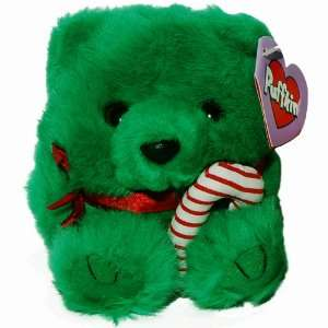 Green Christmas Teddy Bear   Puffkins Bean Bag Plush