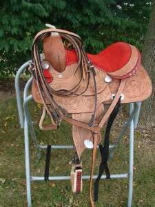 12 13 Youth show Trail Pleasure saddle Barrel Western Natural & Red