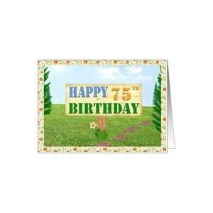 Happy 75th Birthday Sign on Footpath Card Toys & Games