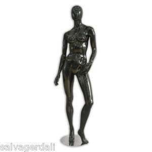 Female Glossy Black Abstract Full Body Mannequin NEW
