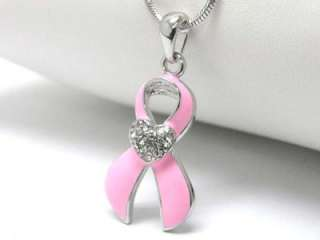 Pink Ribbon Breast Cancer Necklace Pendant Jewelry Womens Ladies Gift