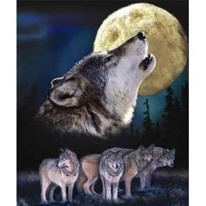 Howling Wolf Pack Moon 2002 Queen Mink Style Blanket