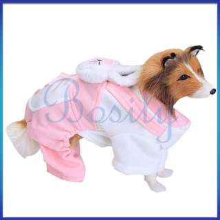 Lovely Pet Dog Pink Rabbit Coat Warm Jumpsuit Shirt Coat Holiday