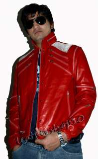Michael Jackson Beat It Red Leather Jacket Vintage MM