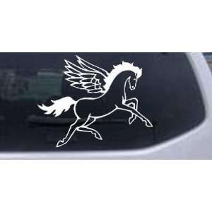 White 10in X 8.0in    Pegasus Horse Enchantments Car Window Wall