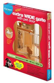 Carlson 0930PW Extra Wide Walk Thru Gate with Pet Door, White