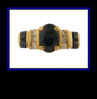 Ladies 14K Yellow Gold Sapphire & Diamond Fashion Ring