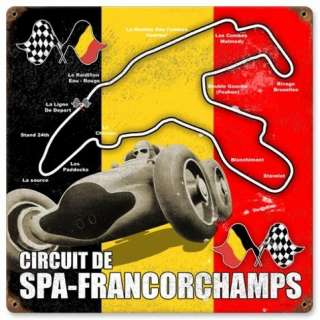 Spa Francorchamps Belgian Formula 1 racing metal sign