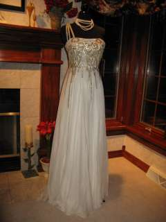 Sherri Hill 2496 Ivory Gold Winning Pageant Gown Dress 10