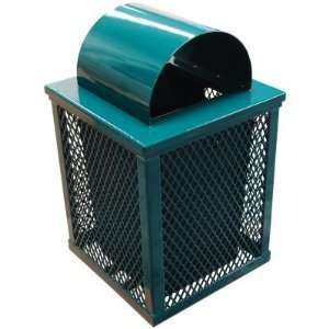 Leisure Craft 32 Gallon Square Expanded Trash Receptacle Black Green