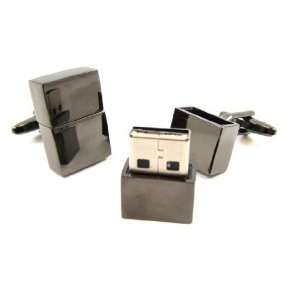 Gunmetal 4GB USB Memory Flash Drive Cufflinks Jewelry