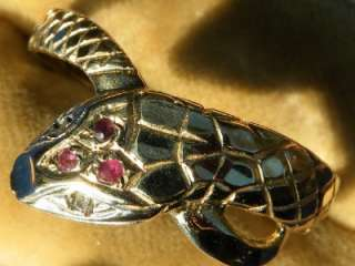 9G SNAKE 9ct GOLD RUBY & DIAMOND SERPENT RING Bm1989