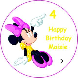 VARIOUS MINNIE MOUSE / PERSONALISED ROUND EDIBLE ICING SHEET CAKE