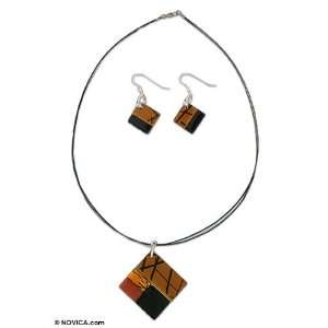 Dichroic art glass jewelry set, Autumn Jewelry