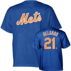 Carlos Delgado New York Mets Blue Name and Number T Shirt by Majestic