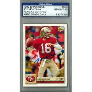 Joe Montana Autographed 1992 Upper Deck Card PSA/DNA Gem Mint 10