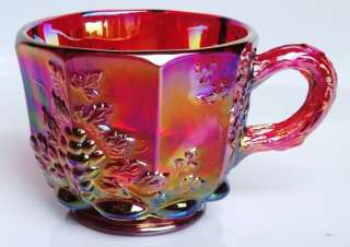 Red Carnival Glass Grape and Vine Punch Bowl Set 8 Cups