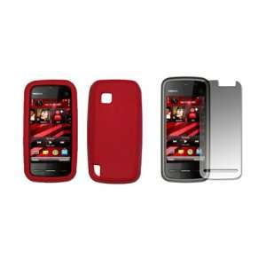 Nokia Nuron   Premium Red Soft Silicone Gel Skin Cover Case + Crystal