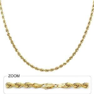 00gm 14k Solid Yellow Gold Diamond Cut Rope Chain 18 4.00mm Jewelry