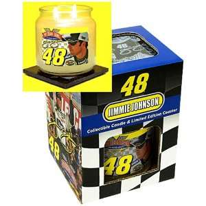 Get Etched Jimmie Johnson Candle Coaster Set W/ Candle