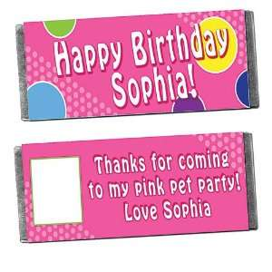 Polka Dot Personalized Photo Candy Bar Wrappers   Qty 12
